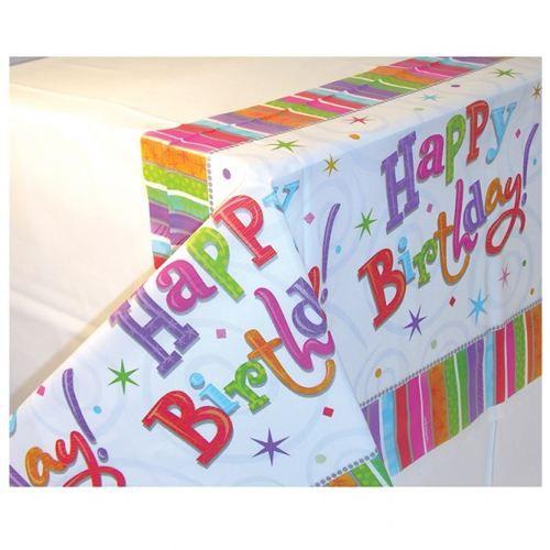 Nappe en plastique happy birthday multicolore achat - Nappe cuisine plastique ...