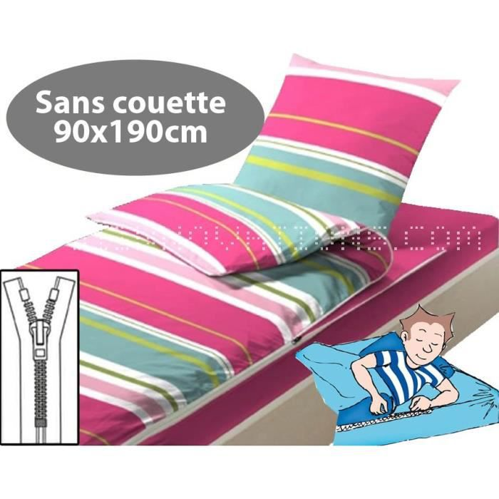 caradou enfant sans couette 90x190cm rose rayures achat. Black Bedroom Furniture Sets. Home Design Ideas