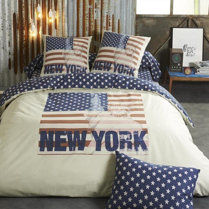 housse de couette coton bleu 140 x 200 cm states etoile achat vente housse de couette. Black Bedroom Furniture Sets. Home Design Ideas