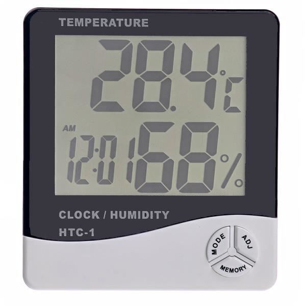 htc 1 thermom tre digital lcd thermom tre hygrom tre et compteur d 39 humidit avec horloge blanc. Black Bedroom Furniture Sets. Home Design Ideas