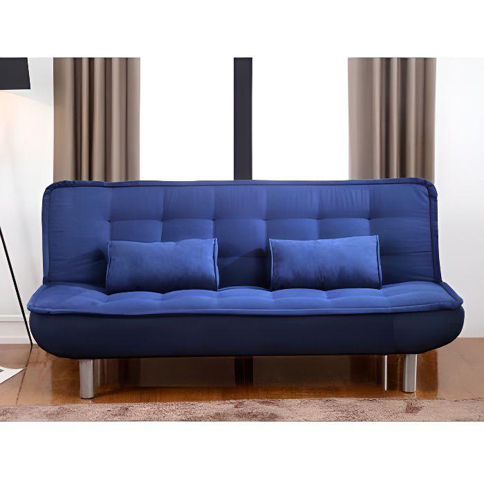 Canap clic clac mishan en tissu bleu achat vente clic clac cdiscount - Canape clic clac cdiscount ...