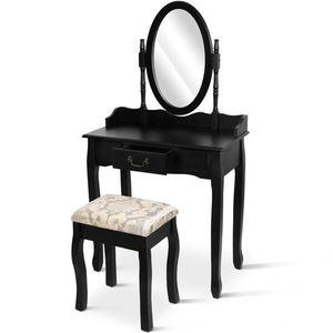 Meuble coiffeuse noir achat vente meuble coiffeuse for Coiffeuse avec miroir et tabouret