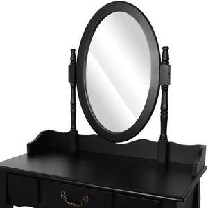 Meuble coiffeuse noir achat vente meuble coiffeuse for Coiffeuse noire avec miroir