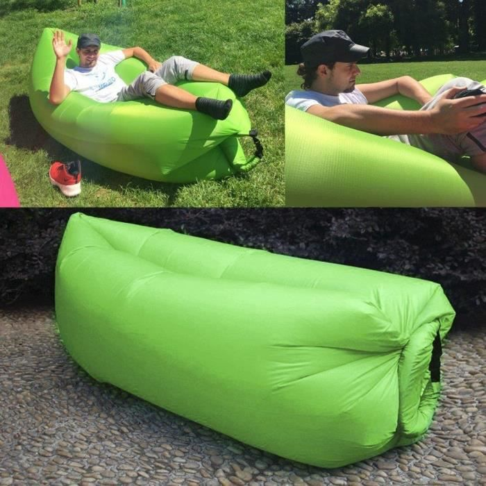 Air bag gonflable hamac chaise hangout canap lit canap dormir camping plage nc vert achat - Lit gonflable bebe decathlon ...