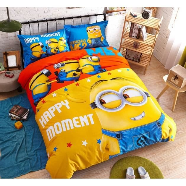 parure de lit minions coton 160 200cm 3 piece le temps heureux achat vente housse de couette. Black Bedroom Furniture Sets. Home Design Ideas