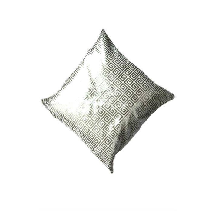 Housse de coussin motif cr neaux en blanc achat vente for Housse de coussin blanc