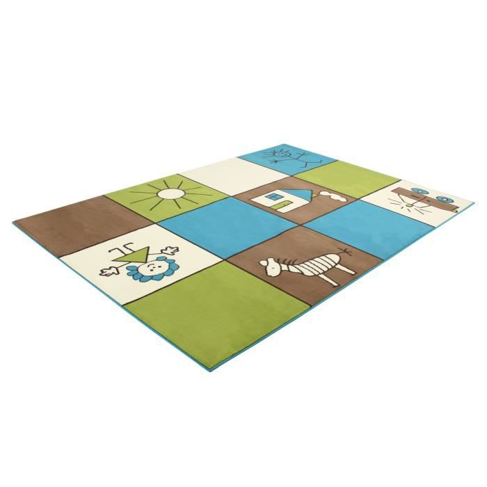 tapis pour enfant karo marron vert 120 x 150 marron marron achat vente tapis veil. Black Bedroom Furniture Sets. Home Design Ideas
