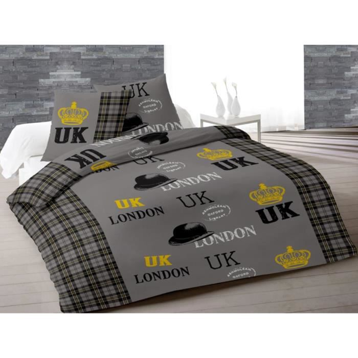 parure housse de couette 220x240 cm oxford gris achat. Black Bedroom Furniture Sets. Home Design Ideas