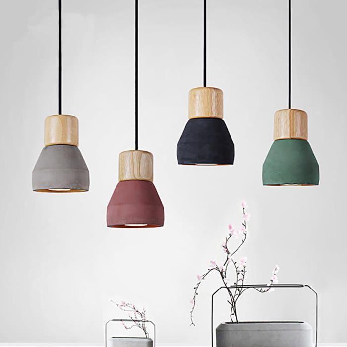 am ricain country style ciment lustre 120cm fil e27 e26 socket lustre 4 couleurs bois. Black Bedroom Furniture Sets. Home Design Ideas