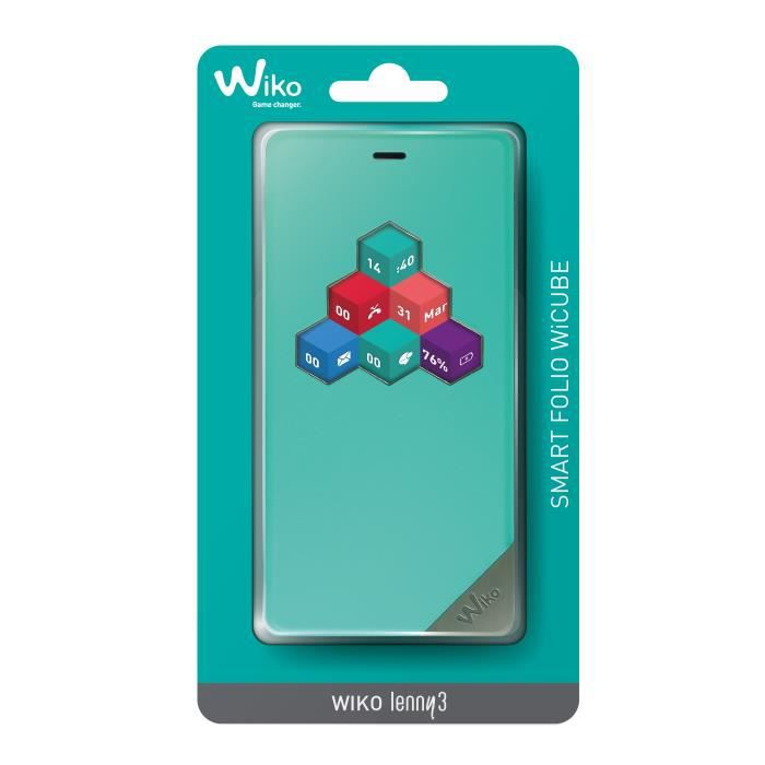 Etui wiko lenny 3 wicube turquoise origine achat housse for Wiko lenny 3 housse