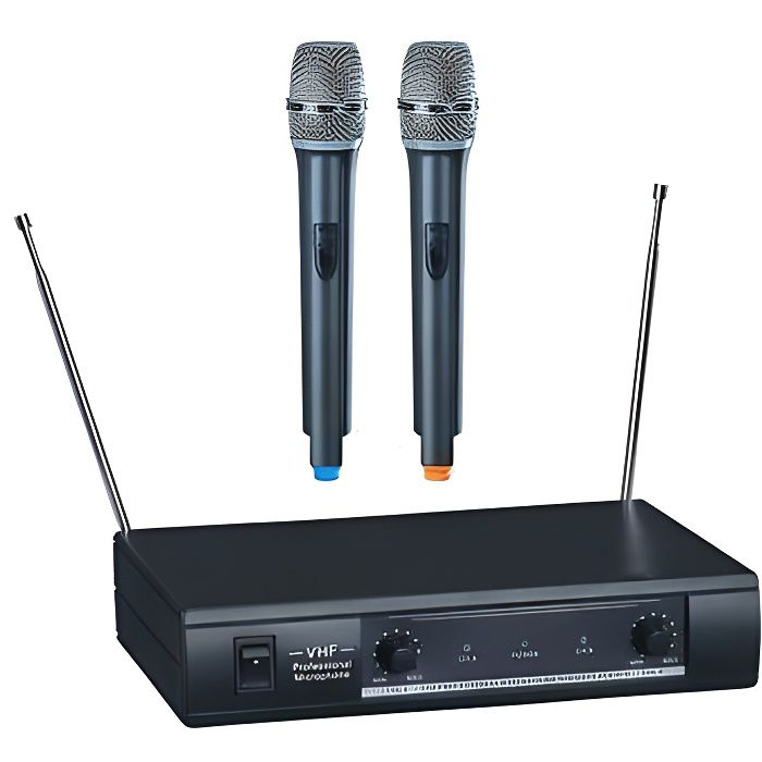 deux 2 micros micro main microphone sans fil vhf. Black Bedroom Furniture Sets. Home Design Ideas