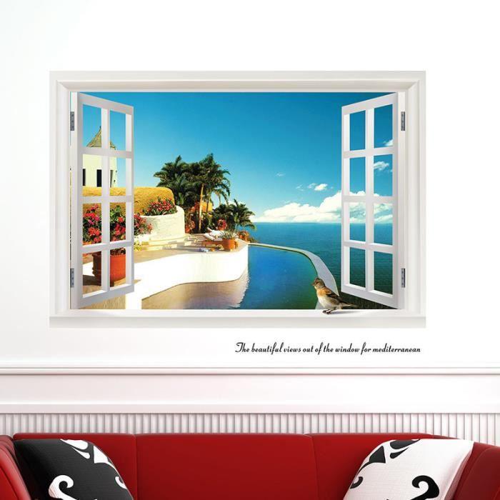 Tableau decoration fenetre vue mer achat vente tableau for Decoration tableau fenetre