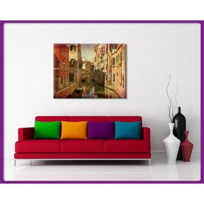 bilderdepot24 impression sur toile venise image urbaine 120x90cm achat vente tableau. Black Bedroom Furniture Sets. Home Design Ideas