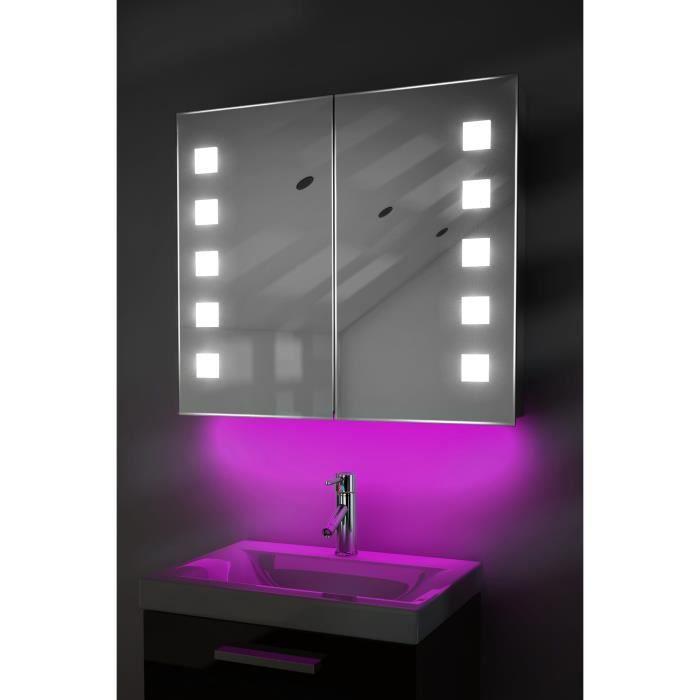 armoire de toilette anti bu e avec capteur et prise rasoir int rieure k81p rose taille l 700mm. Black Bedroom Furniture Sets. Home Design Ideas
