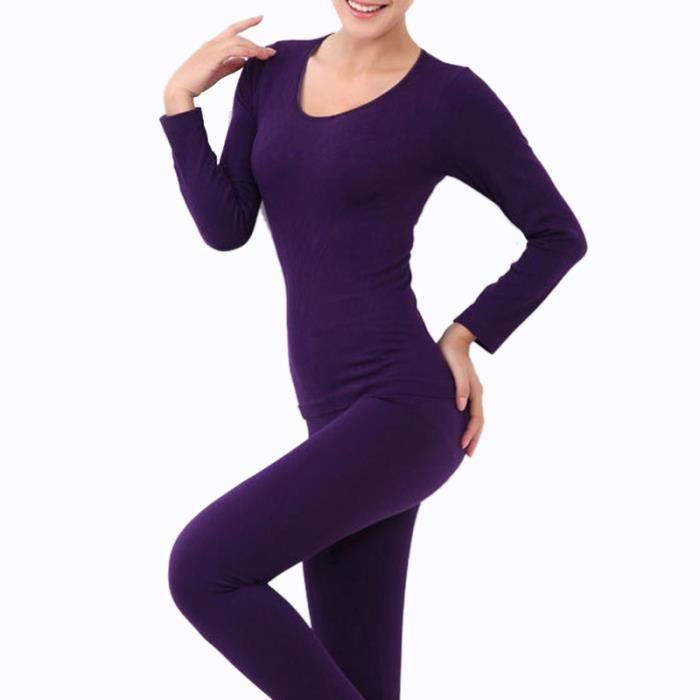 femme sous v tements thermiques pour automne hiver a manches longue hee grand violet achat. Black Bedroom Furniture Sets. Home Design Ideas