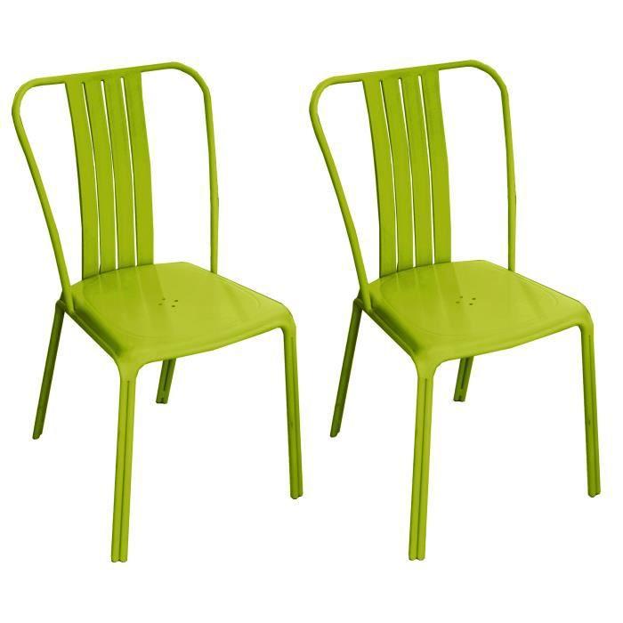 Chaise de jardin azuro verte lot de 2 achat vente for Lot chaise de jardin