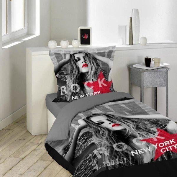 housse de couette 140x200 cm 1 taie d oreiller 63x63 cm diva rouge noir di achat vente. Black Bedroom Furniture Sets. Home Design Ideas