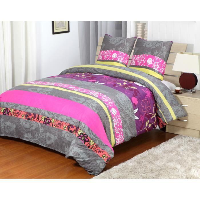 housse de couette eden 3 pcs 220x240cm gris violet achat vente housse de couette soldes d. Black Bedroom Furniture Sets. Home Design Ideas