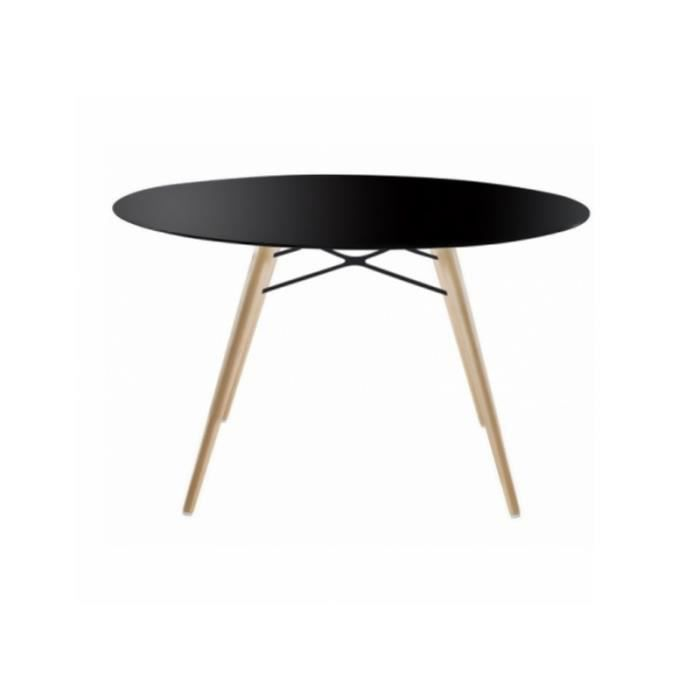 Table ronde wox noir achat vente table basse table for Table basse ronde noir