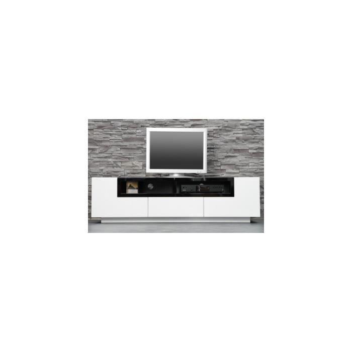Meuble tv design bosselli high gloss blanc bois noir blanc achat vente meuble tv meuble tv - Meuble tv bois noir ...