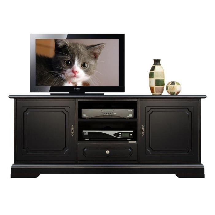Banc tv noir en bois avec 2 portes achat vente meuble for Meuble tv noir bois