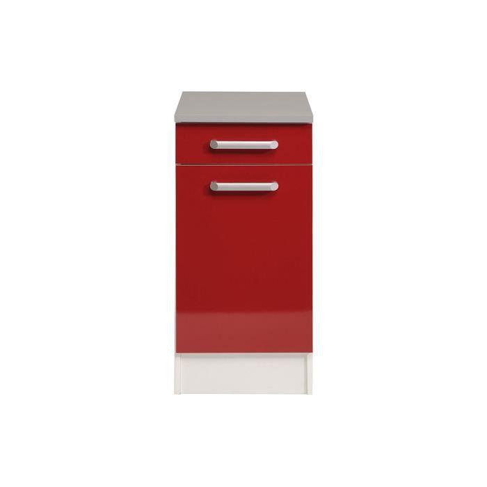 El ment bas cuisine 1 porte 1 tiroir rouge marley achat vente elements bas el ment bas for Portes elements cuisine