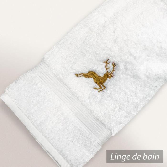 drap de douche 70x130 cm hirsh blanc or 600 g m2 achat vente serviettes de bain cdiscount. Black Bedroom Furniture Sets. Home Design Ideas