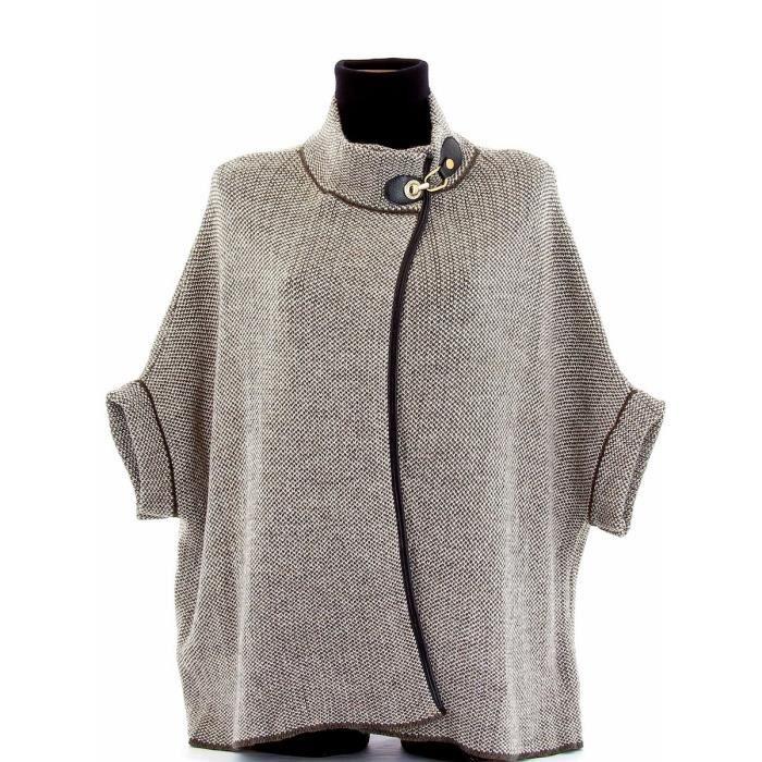 cape manteau laine cuir poncho brigitte femme achat vente manteau caban cape manteau. Black Bedroom Furniture Sets. Home Design Ideas