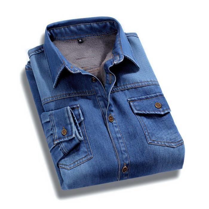 chemise d 39 hiver homme en jean manches longues casual chemises col rabattu chaude bleu fonc. Black Bedroom Furniture Sets. Home Design Ideas