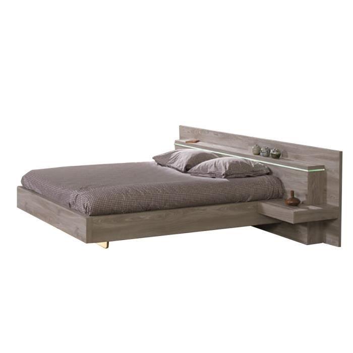 memphis lit 140x200 avec 2 chevets marron achat. Black Bedroom Furniture Sets. Home Design Ideas