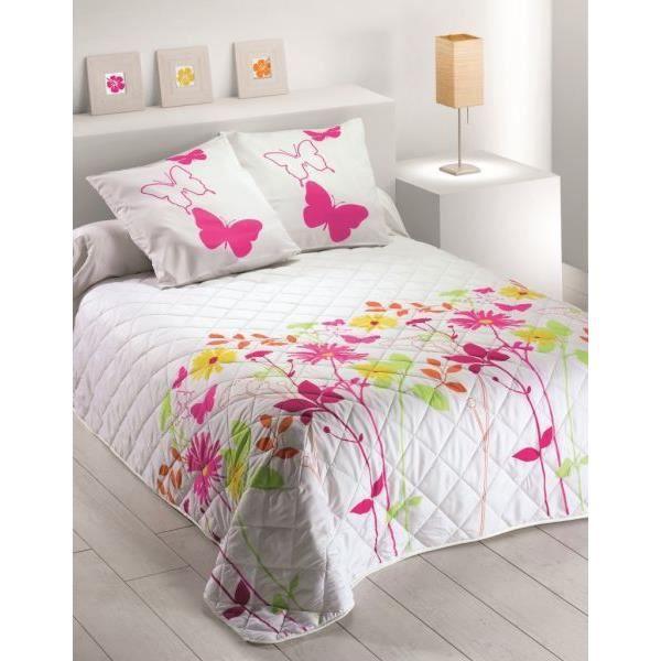 Couvre lit quilte 220x240 cm fleurs 100 polyester achat vente jet e de l - Couvre lit polyester ...