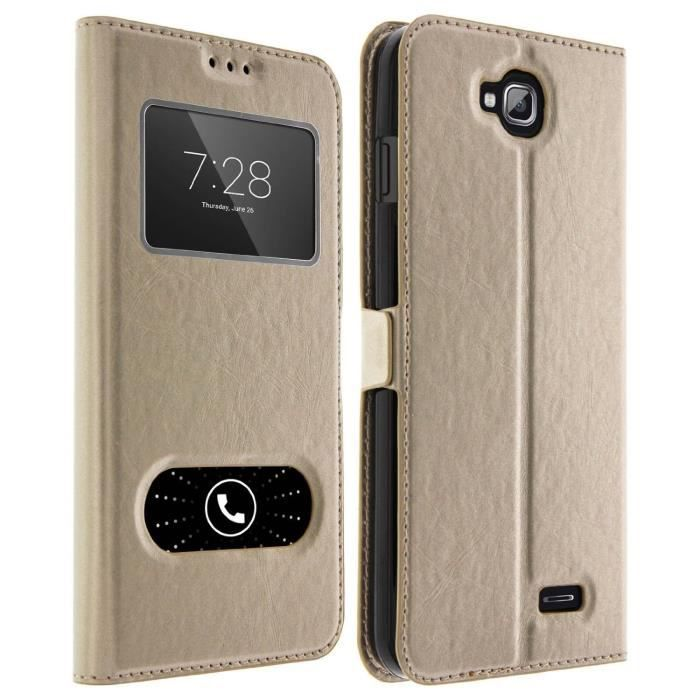 Giscom housse etui folio double fen tres wiko tommy or for Housse wiko tommy 2