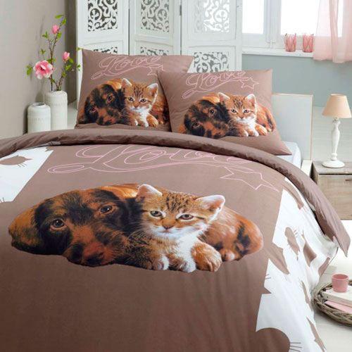chien and chat parure housse de couette tai achat vente parure de couette cdiscount. Black Bedroom Furniture Sets. Home Design Ideas