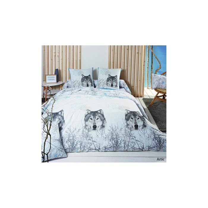 Housse de couette artic imprim s loup gris 140 x 200 cm - Housse de couette loup ...