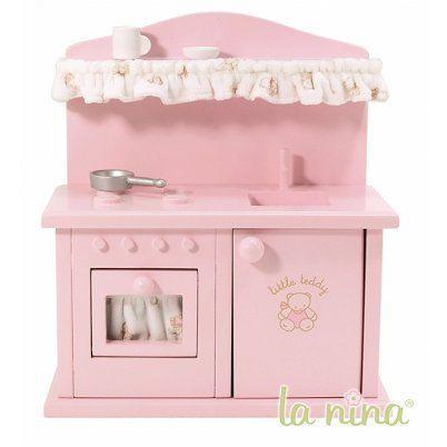 Accessoire maison de Poupées , Cuisine bois rose