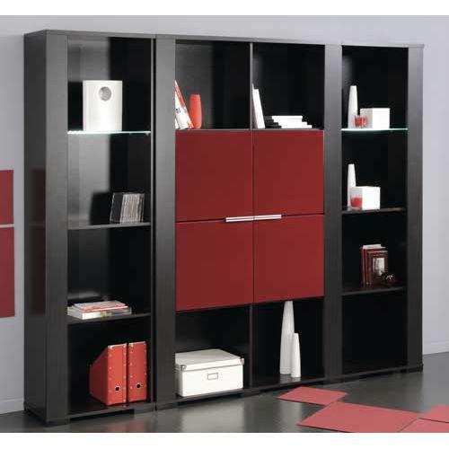 grande biblioth que taurus portes laqu es rouge achat vente biblioth que grande biblioth que. Black Bedroom Furniture Sets. Home Design Ideas