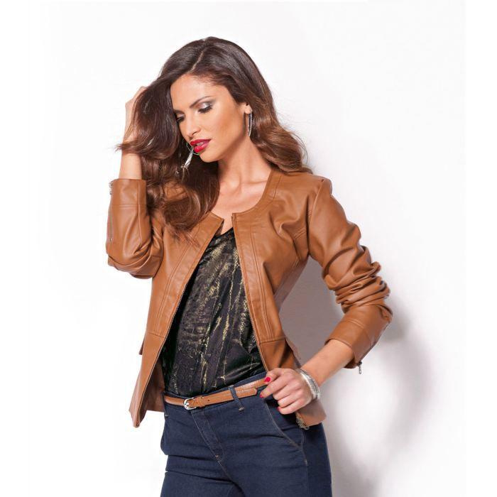 Veste semi cuir marron femme