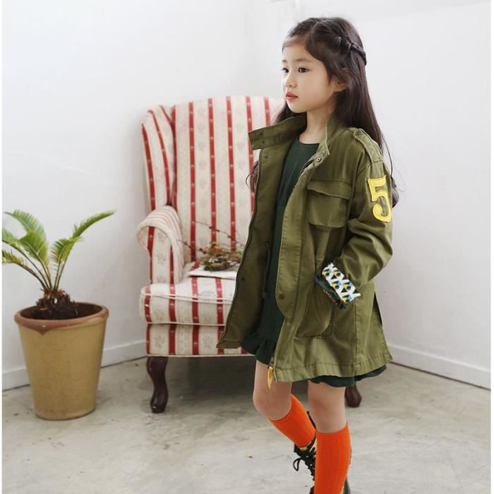 veste fille parka fille pour l 39 automne et printemps 120cm 160cm vert achat vente parka. Black Bedroom Furniture Sets. Home Design Ideas
