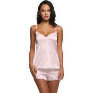 CHEMISE DE NUIT pyjama femme en dentelle 2 pièces Rose