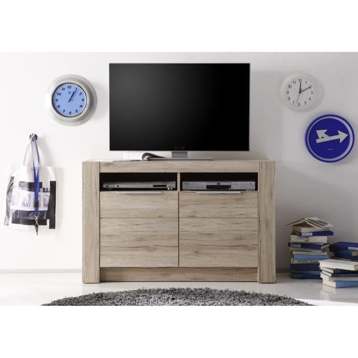 Cougar meuble tv 113cm d cor ch ne naturel achat vente for Meuble tv haut bois