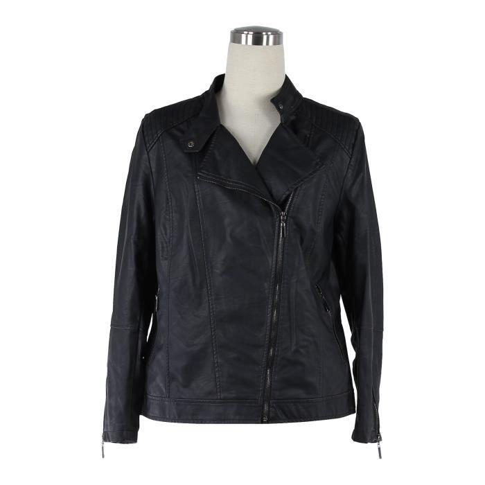 Veste femme grande taille noir t 6 48 simili cuir noir achat vente veste - Simili cuir composition ...