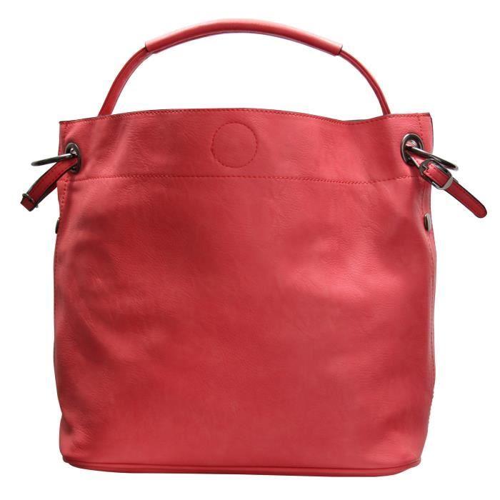 sac main en simili cuir rouge corail souple tr s classe. Black Bedroom Furniture Sets. Home Design Ideas