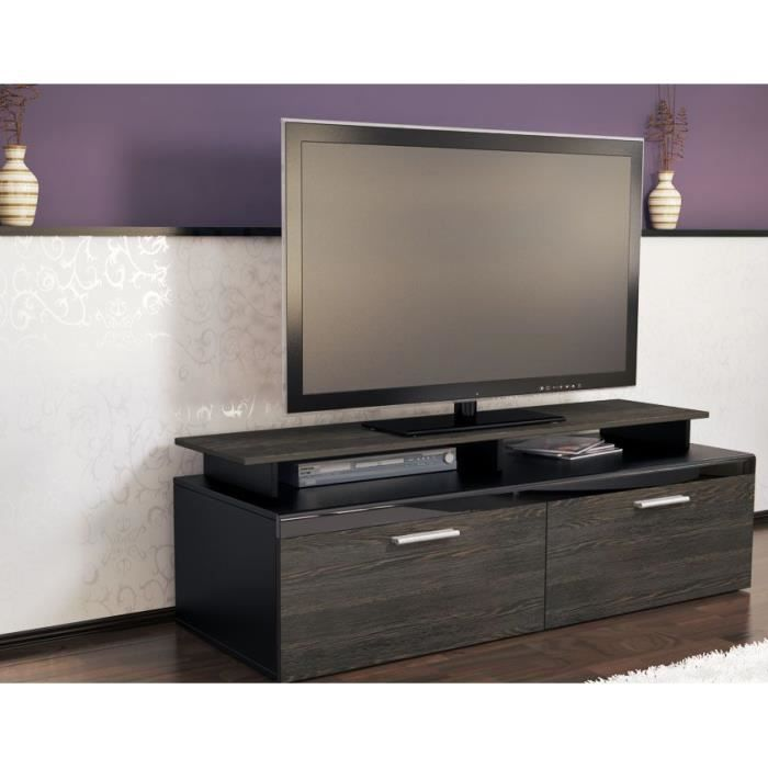 Meuble tv noir bois weng 140 cm achat vente meuble tv for Meuble tv noir bois