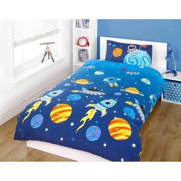 parure de lit housse de couette double galaxie achat vente housse de couette cdiscount. Black Bedroom Furniture Sets. Home Design Ideas