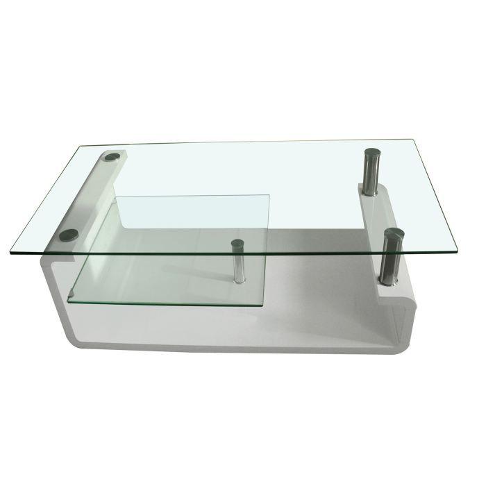 Table Basse Design Irena Verre Et Laque Blanc Achat Vente Table Basse Table Basse Design
