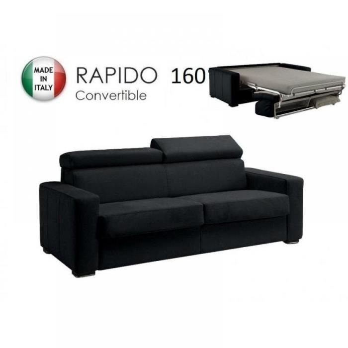 Canap rapido sidney deluxe cuir vachette noir achat vente canap sof - Canape rapido soldes ...