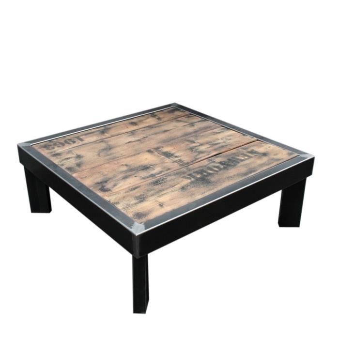 Table basse m tal brut et bois 100 x100 x h 40 sur pieds de biais achat vente table basse La petite table basse en bois brut