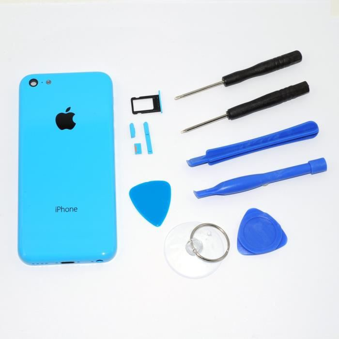 qumox ch ssis coque fa ade arri re pour iphone 5c bleu achat coque bumper pas cher avis et. Black Bedroom Furniture Sets. Home Design Ideas