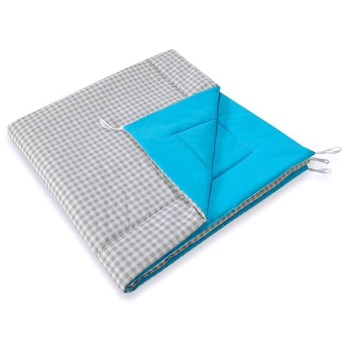 Tapis matelass turquoise carreaux gris pour tipi achat for Tapis turquoise gris