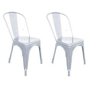 Chaises de salle a manger gris metal achat vente for Chaise salon a manger